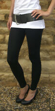 EXTRA LONG THERMAL Pants Winter Black Leggings HIGH WAIST Viscose Size 8 - 20