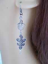 Oak Leaf Earrings Tourmaline Gemstone Beads Celestial Pagan Jewellery Hedgewitch