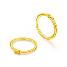 New Solid 24k Yellow Gold Hoop Earrings Small Earrings 0.41g Each one