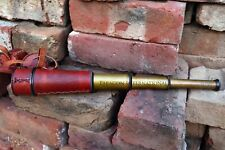 KELVIN & HUGHES BRASS SPYGLASS MARITIME TELESCOPE  WITH LEATHER CARRY CASE