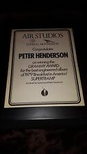 Supertramp Peter Henderson Air Studios Rare Original Promo Poster Ad Framed!