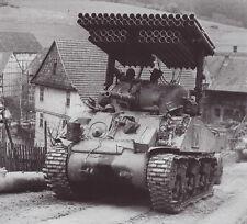 B&W WW2 Photo WWII US Army M4 Sherman Calliope Rocket Launcher World War Two