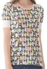 Hüftlange Damen-T-Shirts mit Katzen-S