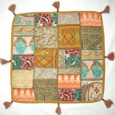 Indian Ottoman Pouf Vintage Patchwork Floor Cushion Cover Boho Large Square