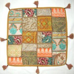 Indian Ottoman Pouf Vintage Patchwork Floor Cushion Cover Boho Large Square