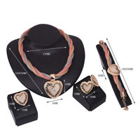 New Women 4 Pieces Gold Heart Pendant Necklace Bracelet Earring Ring Jewelry Set