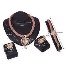 New Women 4 Pieces Gold Heart Pendant Necklace Bracelet Earring Ring Jewelry Set