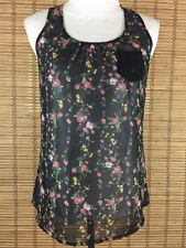 Womens Size Small S Floral Racerback Sheer LILY WHITE Tank Top Cami misc14