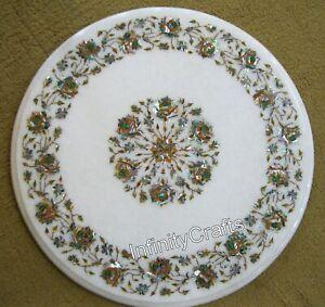 18 Inches Marble Coffee Table Top Peitra Dura Art Patio Table for Garden Decor
