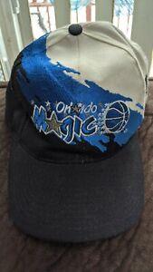Vintage 90s Orlando Magic Logo Athletic Splash Paint Snapback Hat Cap NBA