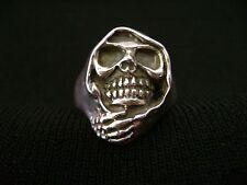 Vintage Sterling Silver Men's Skull Biker Ring Cloaked Grim Reaper