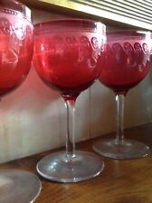 Stunning Powell? 6 x Edwardian etched cranberry wine glasses - perfect condition