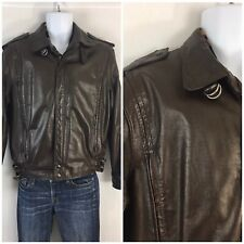 Vintage Members Only Leather Jacket Brown Bomber Cafe Racer L 40 Rainbow Tag