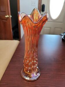 Oddly Stretched Fenton Marigold Carnival Glass April Showers Hobnail Vase