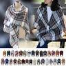 Women's Cozy Soft Pashmina Tartan Scarf Wrap Shawl Neck Stole Warm Plaid Checked