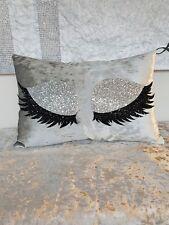 Glitter Cushion. Silver. Eyelash. Crushed velvet.