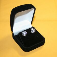 Large Crown Diamond Alternatives Stud Earrings 10mm 14k White Gold over Base