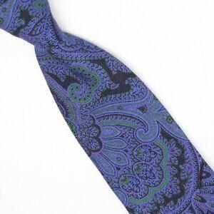 Ted Baker London Mens Wool Necktie Blue Purple Green Black Paisley Print Tie
