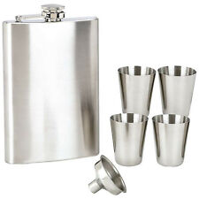 (6 Bulk Pack) Stainless Steel 8oz Flask Set - 4 Cups & Funnel  *Gift Boxed""