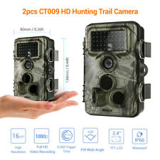 """2X 16MP Hunting Scout Farm Home Trail Camera Waterpoof 2.4"""" LCD Security Record"""