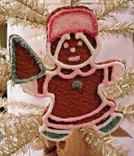 """Large 5"""" Gingerbread Cookie Girl Christmas Tree Ornament Loaded W/ Glitter"""