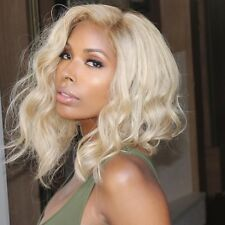 "10"" 10A Brazilian 60 Blonde 150% Density Wavy Bob Style Lace Front Wig"
