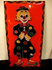 VINTAGE STRING NAIL ART FULL CLOWN ON 15X30 WOOD PAINT SCALLOPED EDGES COLORFUL!