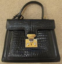 AUTHENTIC BALLY Crocodile-Embossed and Smooth Leather Hand Bag Brown