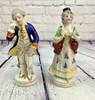 """Vintage Occupied Japan Victorian Style Porcelain Man Woman Figurines - 6.5"""" Tall"""