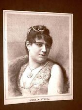 Raro ritratto di Amelia Stahl nel 1887 Soprano Teatro