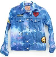 New Levis Womens Boho Tie Dyed Patched %100 Cotton Trucker Jacket XS