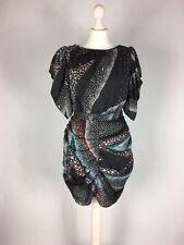 Monsoon Fusion Ladies Party Dress Size 10 Black Grey Coral Teal Stars Mini