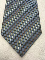 FOGGIA MENS TIE SKY BLUE WITH BROWN GOLD GRAY 4 X 63 EXTRA LONG