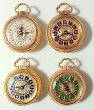 VINTAGE POCKET WATCH LADY MONACHINA REVLON GOLD NOS ENAMEL DIAL FOUR COLOR SWISS