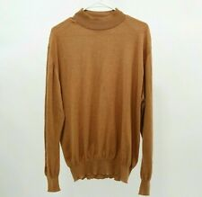 Brioni Sweater Pullover Mens Cashmere Silk IT52 XL Beige Tan Brown Mock Neck