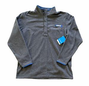 NWT Columbia PFG Men's Large Gray Snap Fleece Pullover Long Sleeve