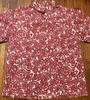 Mens Old Navy Red Floral Aloha Hawaiian Shirt - Medium