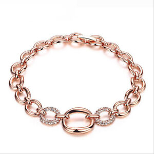 Beauty Jewelry White Fire Topaz Gems Rose Gold Plated Charm Chain Bracelets 7""
