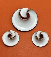 Trifari White Enamel Brooch Earrings Set