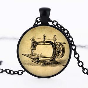Sewing Machine photo dome Black Cabochon Glass Necklaces chain Pendants