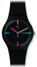 Swatch Unisex The Indexter Quartz Black Plastic and Silicone Watch SUOB719