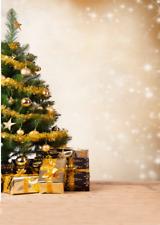 CHRISTMAS TREE GOLD SPARKLE LIGHTS PRESENTS BACKDROP VINYL PHOTO 5X7FT 150X220CM