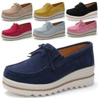 Women's Wedge Heel Shoes Round toe Platform Slip on Suede Casual College Loafers