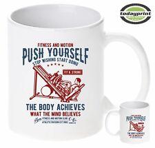 Tasse PUSH YOURSELF - STOP WISHING, Bodybuilder, Muskleshirt, Gym, Fitness, neu