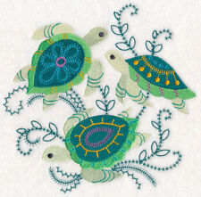 TURTLES SEA LIFE REALISTIC UNIQUE NEW EMBROIDERED HAND TOWEL SET OF 2 BY LAURA