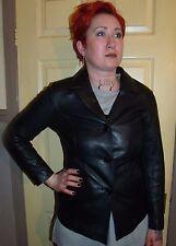 Ladies Black Leather Cuir Cuero Button Blazer Jacket M Size 10 UK 8 USA 36 EUR
