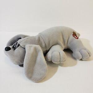 "Tonka Pound Puppies 8"" Grey Plush Stuffed Animal Dog 1985 VTG Made in USA"