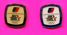 1984 OLYMPIC UNITED AIRLINES PIN LOT OF 2 - 1 ERROR PIN 1 OFFICIAL SPONSOR PIN