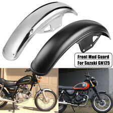Motorcycle Front Mud Guard Mudguard Fender Metal Black/Chrome For Suzuki GN125