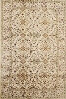Floral Ivory Agra Oriental Area Rug Hand-Tufted Wool Living Room Carpet 5x8 ft